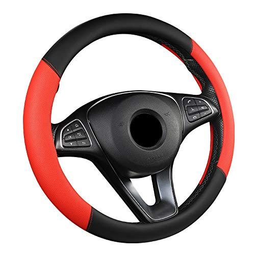ZJSWC Cubierta del Volante, Tela Transpirable para Automóvil/Camión/SUV/Camioneta, Tamaño 38 Cm - Rojo