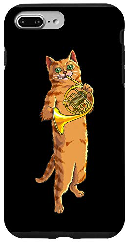 iPhone 7 Plus/8 Plus Funny Cat Playing French Horn | Cool Animal Musician Gift Case