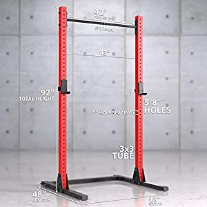 Synergee 1000lb Capacity Squat Rack 3x3 Tubes. Power Rack with Adjustable Pull Up Bar & J-Cups. Commercial Grade Squat Stand for Strength Training & Weightlifting.