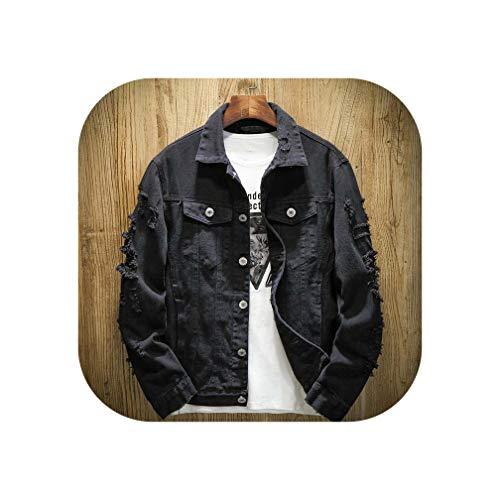 KKK-3boss Autumn New Men's Jean Jacket Slim Fit Cotton Denim Jacket Red White Black Ripped Hole Jean Coats Men Cowboy Youth Men 5XL,Black,XXL