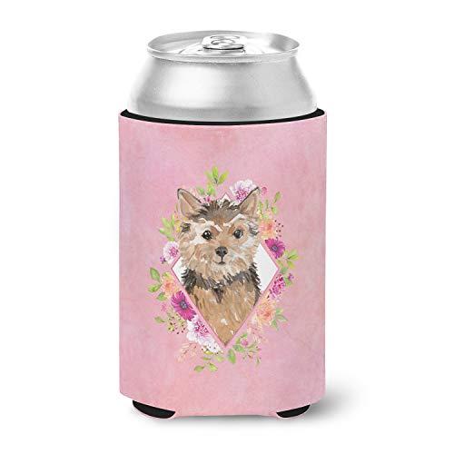 Caroline's Treasures CK4220CC Norwich Terrier Pink Flowers Can or Bottle Hugger, Can Hugger, multicolor