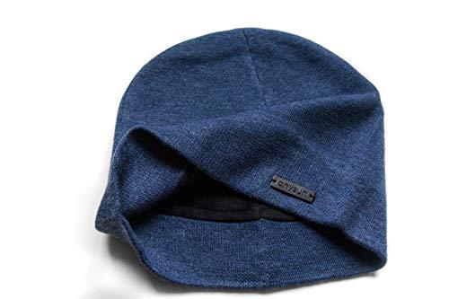 Beanie-Mütze mit weichem Samt gefüttert, für Herren und Damen, besser als mit Fleece gefüttert - Blau - Medium / Large