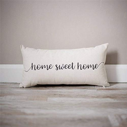 EricauBird Home Sweet Home - Almohada rústica para casa, almohada personalizada para casa, regalo de inauguración de la casa, funda de cojín de 30,5 x 50,8 cm