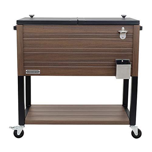 Permasteel PS-205-BRN-AM 80 Quart Patio Cooler, Brown