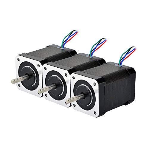 STEPPERONLINE 3 pezzi Nema 17 Bipolar 1.8 deg 65 Ncm 2.1A 42 x 42 x 60 mm 4 fili per stampante 3D, fresatrice CNC