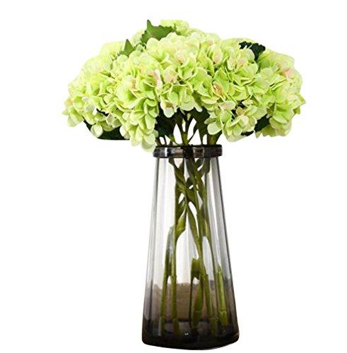 6 Piezas Hortensia Flores artificiales para ramo de novia y decoración de Boda Fiesta Navidad Hogar Verde