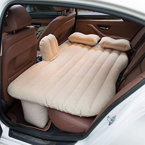 LTE 1 PCS Luftmatratze Reise Camping Bett Aufblasbare Matratze Aufblasbares Kissen Auto Rücksitzbezug Sofa Kissen Auto Innenteile, Beige