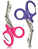 2 Pack 7.5' Trauma Shears with Carabiner-Titanium Coated Bandage Scissors, Nursing Scissors with Non-Stick Blades Stainless Steel Medical Scissors for EMT Workers, Doctors & Nurses