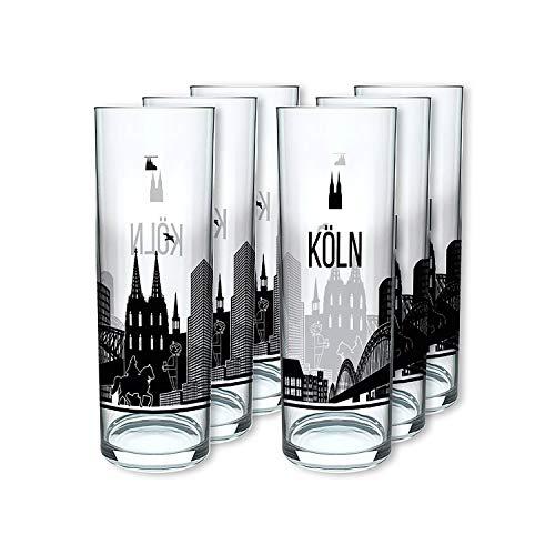 I LOVE KÖLN Kölschglas 6er Pack, Gläser mit der Kölner Skyline, Biergläser mit Druck à 0,2ml