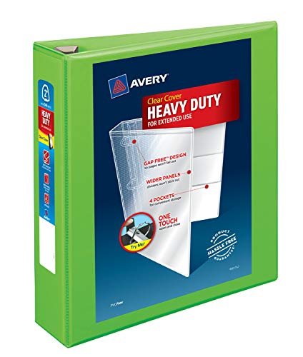 Avery Heavy Duty View 3 Ring Binder, 2 One Touch EZD Ring, Holds 8.5 x 11 Paper, 1 Chartreuse Binder (79776)