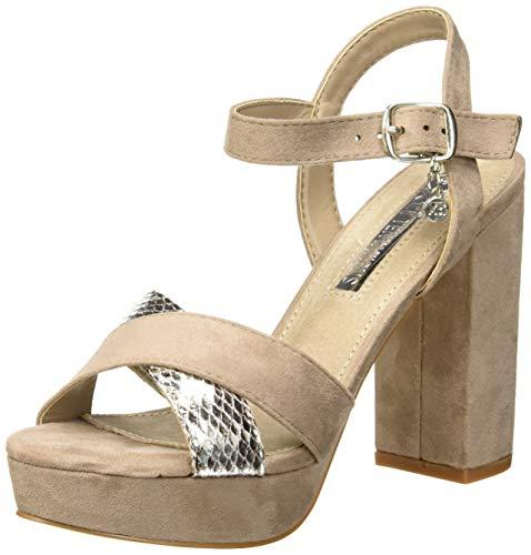 XTI 32055, Scarpe col Tacco con Cinturino Dietro la Caviglia Donna, Marrone (Taupe Taupe), 39 EU