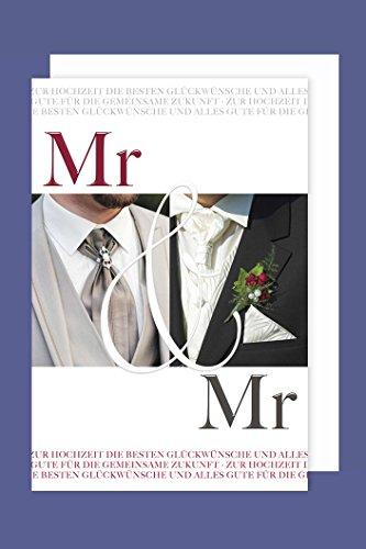 Homo-Ehe Hochzeit Karte Grußkarte Mr&Mr Mann&Mann Krawatte 16x11cm