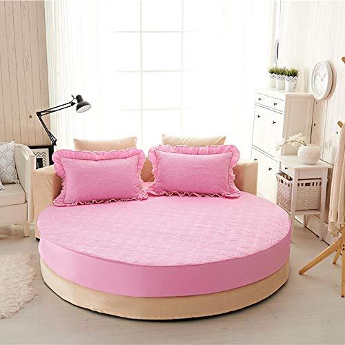 HPPSLT Protector de colchón Acolchado - Microfibra - Funda para colchon estira hasta Sábana de Cama Redonda de Puro algodón Quilted-Pink-Quilted_2.3m