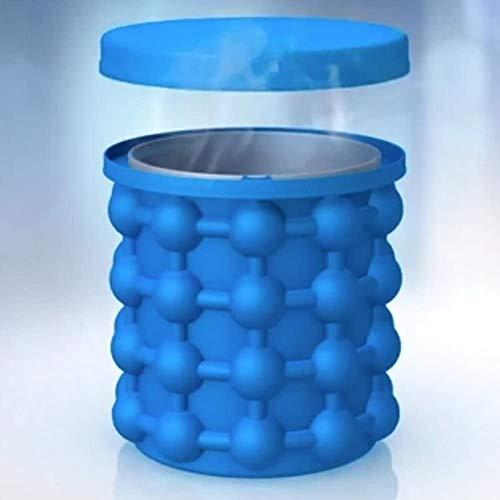 Ice Cube Maker, Silikon Eiseimer mit Deckel Platzsparende Genie Eiswürfelbereiter Blau Eiswürfel GefäßKühler für Whiskey, Cocktail und Jedes Getränk BBQ, EiswüRfelbehäLter BPA-Frei - GoodGoodday