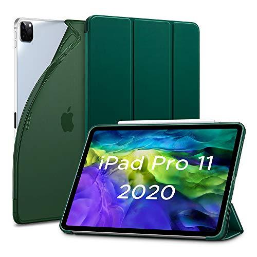 """ESR Hülle kompatibel mit iPad Pro 11"""" 2020, Rebo& Slim Smart Hülle mit Auto Schlaf-/Wachfunktion [Ansichts-/Tippstandmodus] [Flexible TPU Rückseite mit gummierter Vorderseite] - Dunkelgrün"""