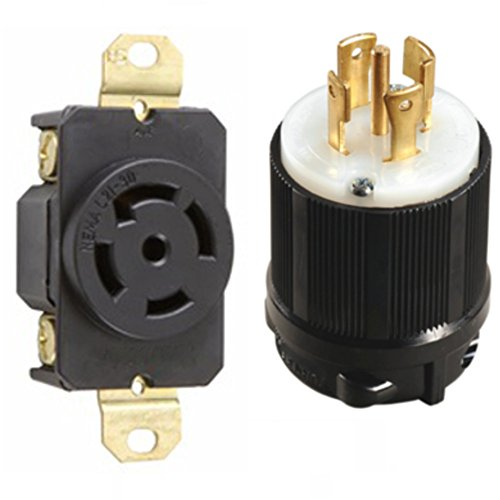 NEMA L21-30 Plug and Receptacle Set - Rated for 30A, 120/208V, 5-Wire, 4 Pole - cUL Listed