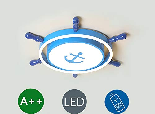 LED Ceiling Lamp Modern Cartoon Style Personality Rudder Children's Room Lamp, Dimming with Remote Control, for Living Room Bedroom Kitchen Balcony Study Ceiling Lighting (Ø55 cm)
