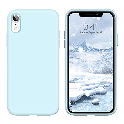 GUAGUA iPhone XR Case Liquid Silicone Soft Gel Rubber Slim Lightweight Microfiber Lining Cushion Texture Cover Shockproof Protective Anti-Scratch Phone Cases for iPhone XR 6.1-inch Sky Blue