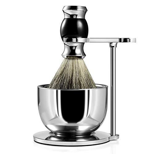 Juego de brocha de afeitar premium GRUTTI, cuchillas de afeitar y soporte de brocha Jabonera y brocha de afeitar de pelo de tejón Juegos de afeitado para hombres-Negro