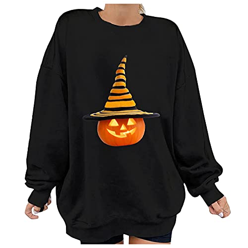 Aniywn Halloween Pumpkin Face Sweatshirts for Women Cute Pumpkin Graphic Hoodies Casual Long Sleeve Fall Pullover Tops