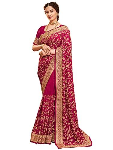 D'VINS Damen Designer Weicher Seidensaris mit schöner Spitze und Stickarbeit und bestickt Ungenäht Blusenteil (Dunkelgrün), rose,