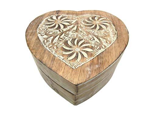 Geschenkhaus-Tom Holztruhe mit Herz Schatztruhe Schatzkiste Truhe Holztruhe Holzbox Box Massivholz im Shabby Chic Look (IHMG Muster groß)
