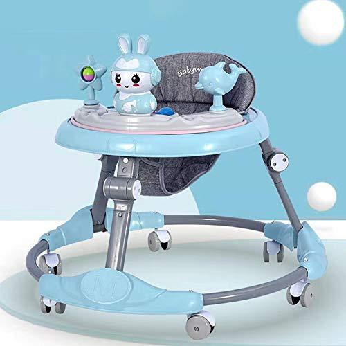 DJXLMN Faltbare einstellbare Lauflernhilfe, niedliche Cartoonform, Musikspielzeugablage, Anti-Überrollgurt mit 6 Rädern,Blau