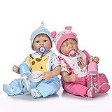 """WEHQ Rebirth Doll, Juguetes para niños Realistas y Hechos a Mano 17""""43cm Silicona Suave Bebés Reborn Twin Baby Dolls Realista Vinilo Muñeca recién Nacida Niño y niña Durmiente Gemelos"""