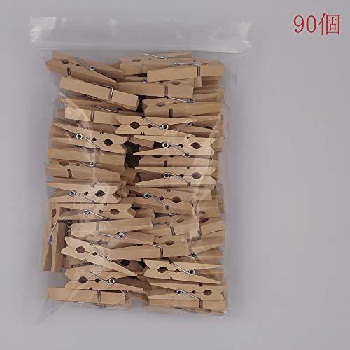 大 木製クリップ 4.8cm 90個入り ウッドクリップ 木製ピンチ 木製クロスピン 洗濯バサミ 写真用に (木の色, 4.8cm)