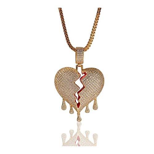 LUOSI Colgante, Collar de corazón con Cadena de Oro de 3 mm de Tenis en Color Plata circonio cúbico Hombres y Mujeres joyería Regalo Collares (Metal Color : Gold)