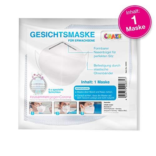 CRAZE High Quality Gesichtsmaske Mundmaske Maske für Gesicht und Nase 4 Schichten 28353, Weiß