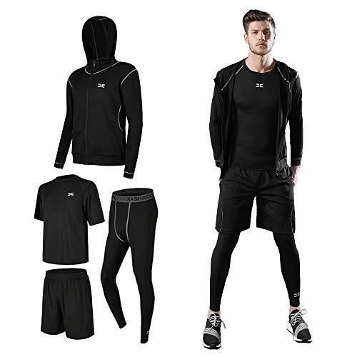コンプレッションウェア セット スポーツウェア メンズ 長袖 半袖 冬 上下 4点セット 6カラー トレーニング ランニング 吸汗 速乾