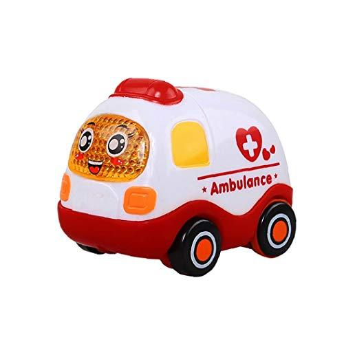 Yoyakie Push and Go Pull Back Vehículos Fricción Coches Inerciales Juguetes De Coches para Niños Pequeños (Ambulancia)
