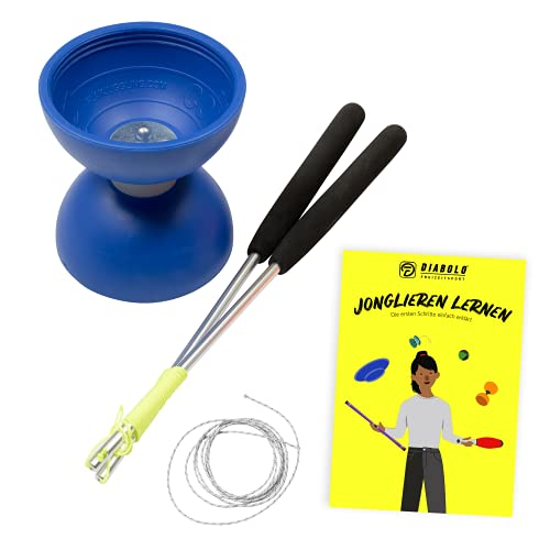 Diabolo-Set für Kinder Anfänger mit Comet Diabolo und Henrys Ersatzschnur I Einsteiger-Set - Made in Italy (blau)