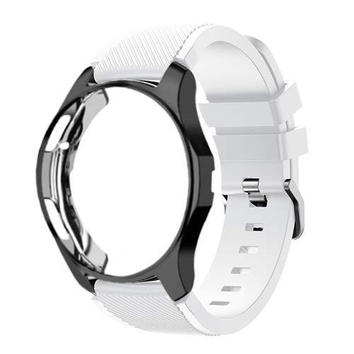 JJBFAC Funda de silicona+correa para Samsung Galaxy Watch de 46 mm/42 mm, correa Gear S3 Frontier+funda protectora (color de la correa: blanco 1, ancho de la correa: Gear Sport S2)