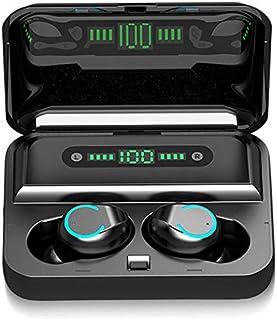Auriculares inalámbricos, Bluetooth 5.0 TWS auriculares con funda de carga LED pantalla de batería de 120 horas de reproducción, micrófono integrado, sonido premium con graves profundos para deportes (negro)