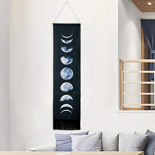 Martine Mall Tapestry Wall Hanging Tapestries Nine Phases of The Full Growth Cycle of The Moon Wall Tapestry Cotton Linen Wall Art, Modern Home Decor (Black Moon Phase Change, 12.99' x 52.75')