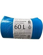 Afvalzakken 60 liter - 50 stuks, zeer duurzaam, 100% recyclebaar