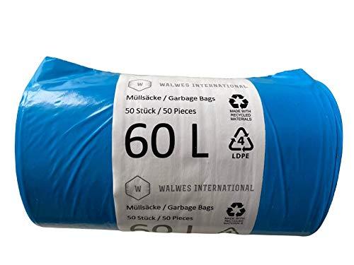 Müllsäcke 60 Liter - 50 Stück, sehr langlebig, 100% recycelbar