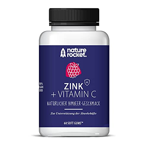 Zink + Vitamin C Vegane Softgums | Immunsystem | Natürlicher Himbeer-Geschmack | Made in Germany 60 St Monatspackung