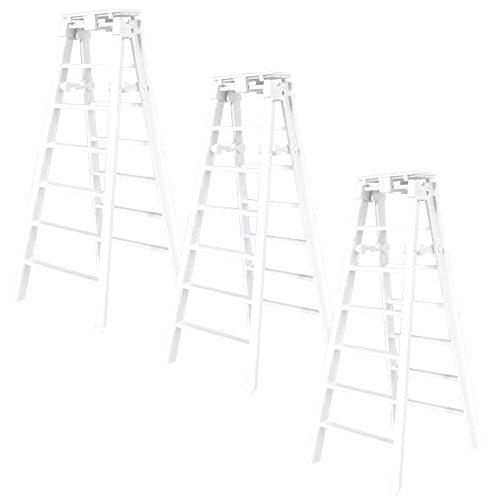 Set of 3 White Folding Ladders for WWE Mattel Wrestling Action Figures
