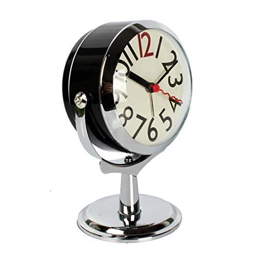 Alarm Clock Super Hard Geluid, Eenvoudige Student Luie Man Wekker, Night Light Mute Slaapkamer Nachtlampjes Office Desktop Decoration Alarm Clock R/20/04/11 (Color : Black)