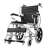 Einkaufstrolleys Rollstuhl Rollstuhl aus Aluminiumlegierung Rollstuhlwagen für ältere Personen Klappbarer Rollstuhl Kann 100 kg tragen (Color : Black, Size : 88 * 80 * 59cm)