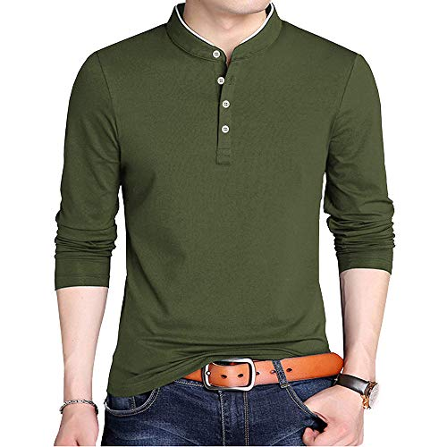 FREDRM Mens Polo T Shirts Long Sleeve Slim Fit Casual Cotton Stretchy Collared Shirts for Men (Army Green, S)