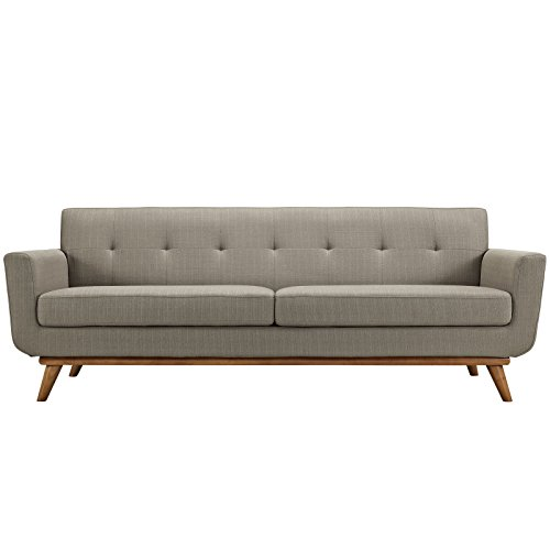 Modway Engage Mid-Century Modern Upholstered Fabric Sofa In Granite