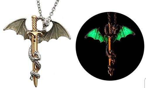 Halskette Drache auf Schwert Figur Drache (Farbe Silber und Gold – phosphoreszierend grün), Figur Drache