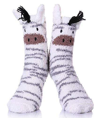 YEBING Women Girls Super Soft Fuzzy 3D Cute Animal Cartoon Winter Warm Slipper Socks Zebra