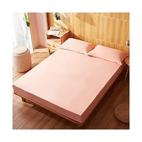 MZP Protector de colchón100% Impermeable de Tela Suave de Primera Calidad Solo protección Superior Color Sólido Matrimonial Individual 30cm Profundidad (Color : Pink A, Size : 150x200cm)