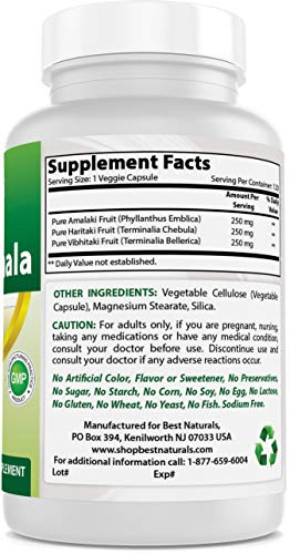 Best Naturals Triphala 750 mg 120 Vcaps