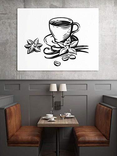 SUPWALS Wandtattoos Kaffeetasse Mit Sternanis Silhouette Wand Vinyl Aufkleber Aufkleber Coffee Shop Wandkunst Dekoration 42X32Cm